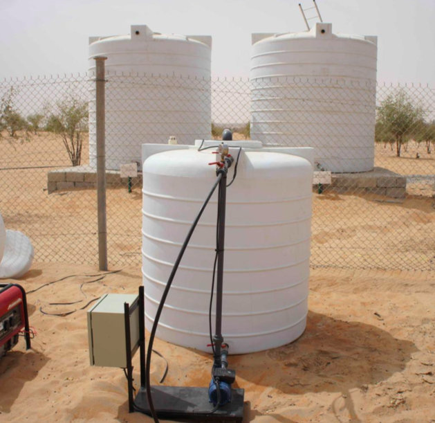 Researchers irrigated with these water tanks holding groundwater and treated sewage effluent.